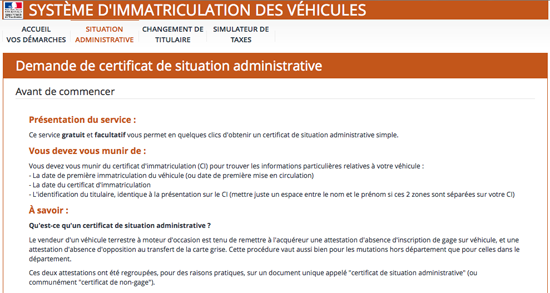 certificat de situation non gage